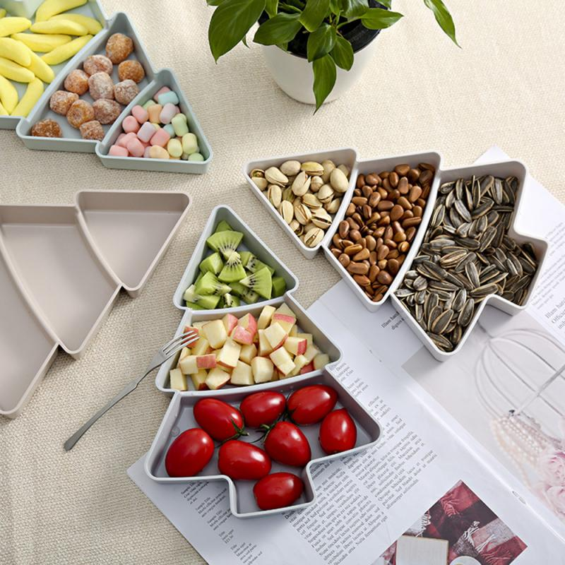 Christmas Tree Shape Living Room Candy Snacks Nuts Seeds Dry Fruits Plastic Plate Dishes Bowl Breakfast Plates Tray Tableware