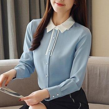 Korean Chiffon Women Shirts Women Long Sleeve Blouse Tops Office Lady Beading Shirts OL Top Plus Size Blusas Mujer De Moda 2020 plus size chiffon long sleeve layering top