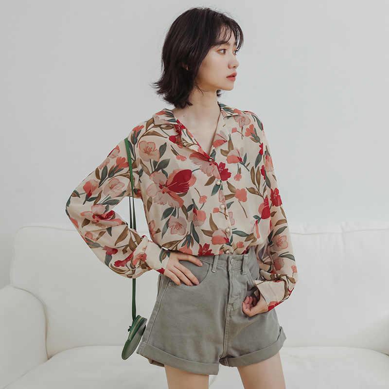 Новая женская цветочная шифоновая блузка рубашка Женская свободная с длинным