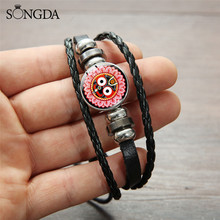 India Religious Lord Jagannath Face Leather Bracelets Layerd Metal Beads Rope Bracelet