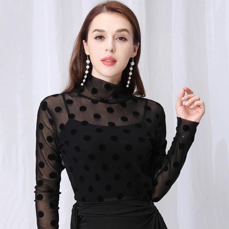Latin Dance Shirts Black Long Sleeve Polka Dot Mesh Top Rumba Cha Cha Samba Tango Salsa Women Ballroom Practice Clothes DN4387