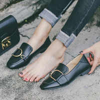 Genuine Leather Female Loafers Metal Buckled Square Toe Big Size 42 Flats for Women Black White Casual Shoes Spring Lady Flats