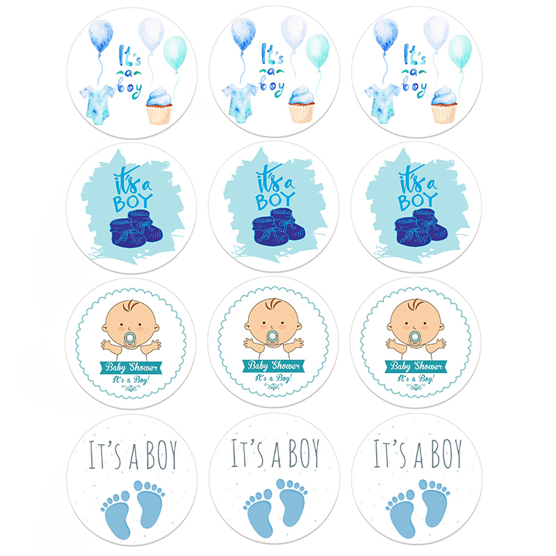 It's A Boy/It's A Girl Round Sticker Labels Baptism Gender Reveal Stickers Newborn Baby Shower Party Favor Gift Candy Box Gift