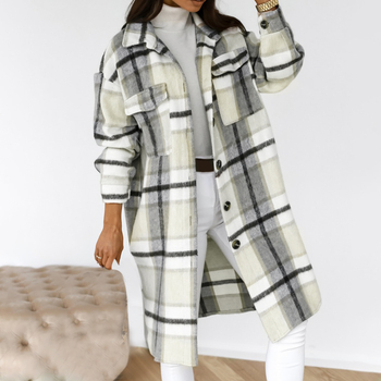 2020 Winter Checked Women Jacket Down Overcoat Warm Plaid Long Coat Oversize Thick Woolen Blends Female Streetwear 1