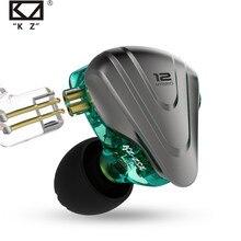 Fones de ouvido kz zsx híbridos, fones de metal com tecnologia de redução de ruídos e high bass fone de ouvido