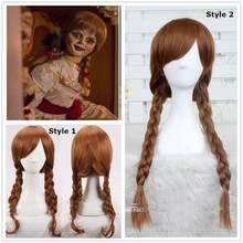 Korku film bebek Annabelle Cosplay peruk kahverengi düz sentetik saç peruk cadılar bayramı Cosplay kostümleri elbise ücretsiz kargo
