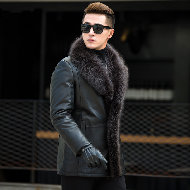 Leather Jacket Men Real Raccoon Fur Collar Wool Liner Second Layer Of Sheepskin Coat Men Leather Jackets A MY729