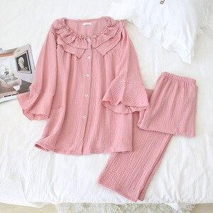 Image 4 - Womens New Casual Round Neck Pajamas Three Quarter 100% Cotton Solid Crepe Pajama Set Woman Sleepwear Loungewear Home Clothes