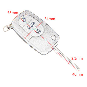 Image 2 - 3 Buttons Remote Folding Flip Key Shell Case Cover For Audi A2 A3 A4 A6 A8 TT CR2032 Car Replacement Fob Case Blank Blade
