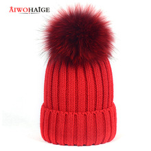 2019 new pom poms winter hat for women girl 's hat knitted beanies cap brand new thick female cap mink and fox fur ball cap стоимость