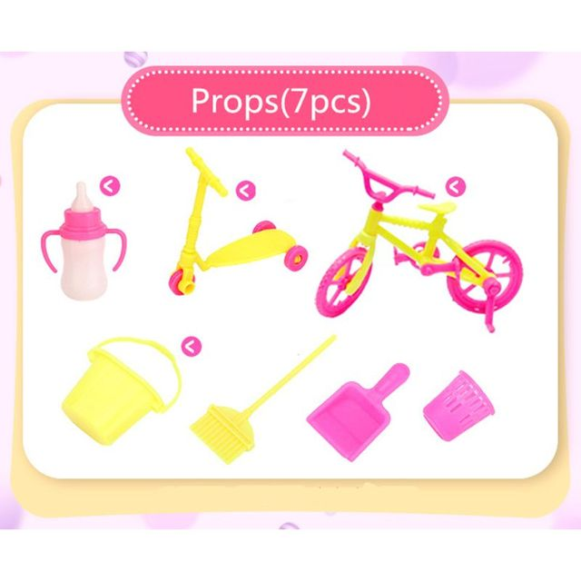 94pcs Doll Furniture Pretend Play Toy Sofa Shoes Jewelry For Doll Brabie Kelly Doll House Accessories Girl Present  Wholesale 3
