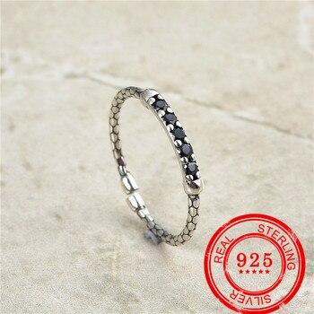 цена на Fashion Jewelry Sterling Silver 925 Ring Black Zircon Inlaid Ladies Party Wedding Birthday Gift Sterling Silver 925 Ring