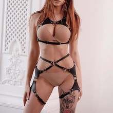 GAMPORL Leather Body Harness Bdsm Sexy Sets 2pcs Erotic Lingerie Women Chest Harness Gothic Garter Belt Stockings Body Bondage
