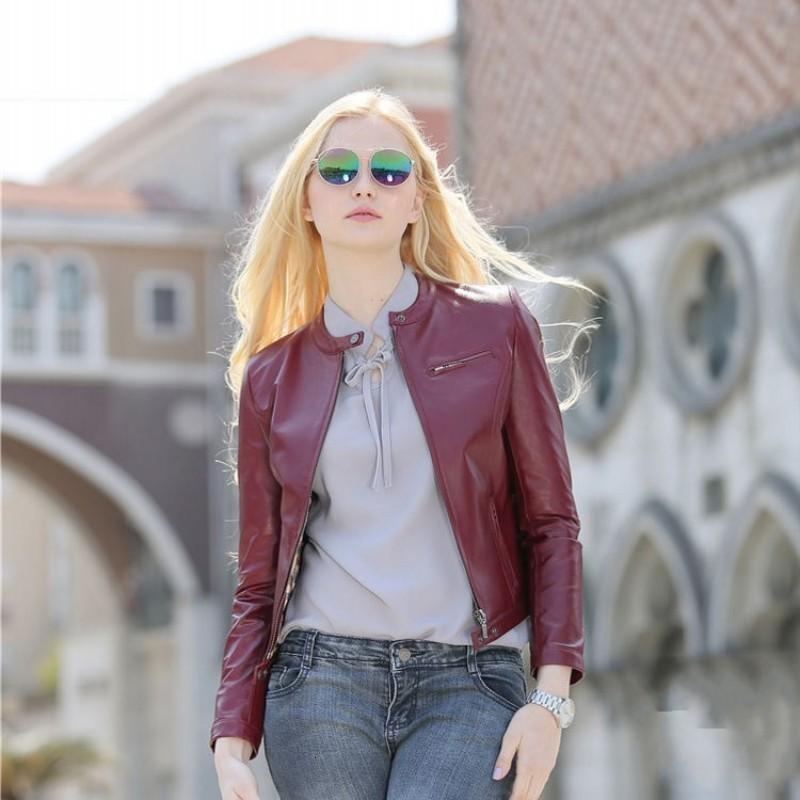 Women Autumn Long Sleeve Punk Style Real Leather Jacket Short Slim Fit Stand Collar Biker Genuine Sheepskin Coat Lady Outerwear