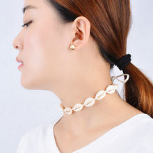 New Boho Shells Neckalce Women Summer Beach Conch Shell Choker Black White Rope Collar Chain Natural Seashell Necklaces Jewelry new boho gold conch shell chain presents