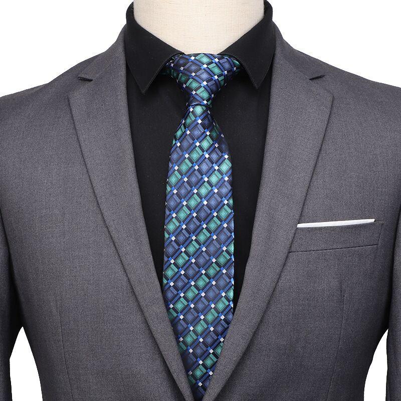 SHENNAIWEI 7cm Neckties Corbatas Tie For Men Shirt Accessories  Jacquard Striped Men's Gift