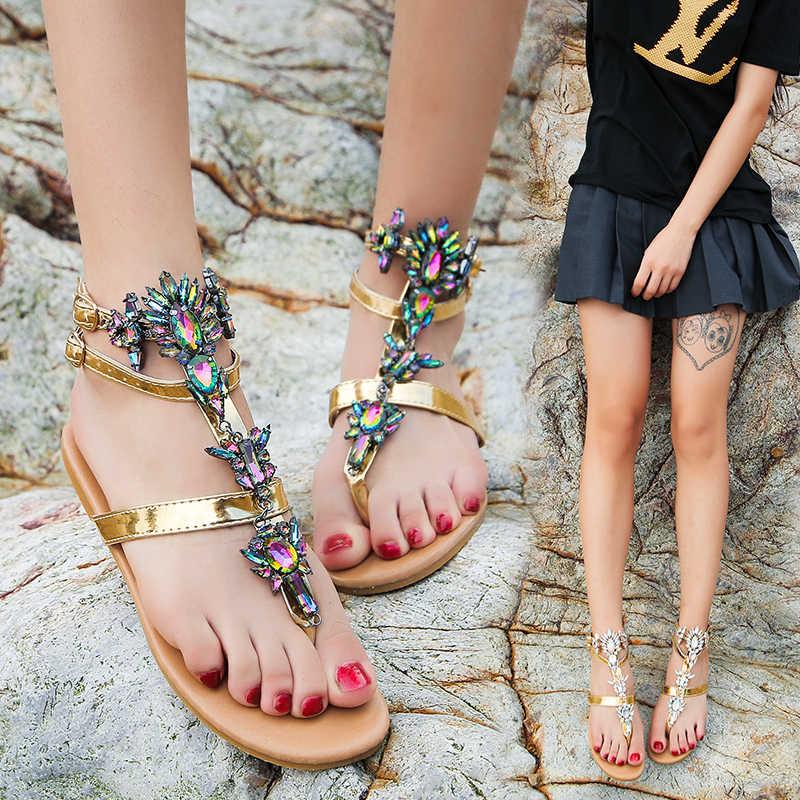 Sandały damskie 2019 kobiet buty dżetów łańcuchy stringi Gladiator sandały na płaskim obcasie kryształ Chaussure Plus rozmiar 42 tenis feminino