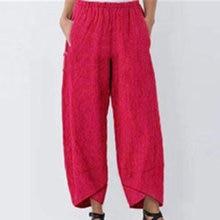 Женские однотонные брюки из хлопка и льна Летние повседневные