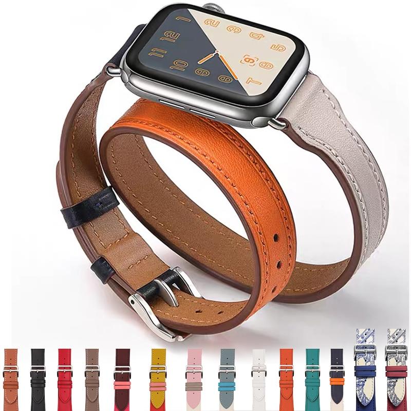 Echtes Leder Uhr Strap für Apple Uhr Band 6 SE 5 4 3 2 1 44MM 40MM Serie 6 armband Armband 42MM 38MM für Iwatch Bands