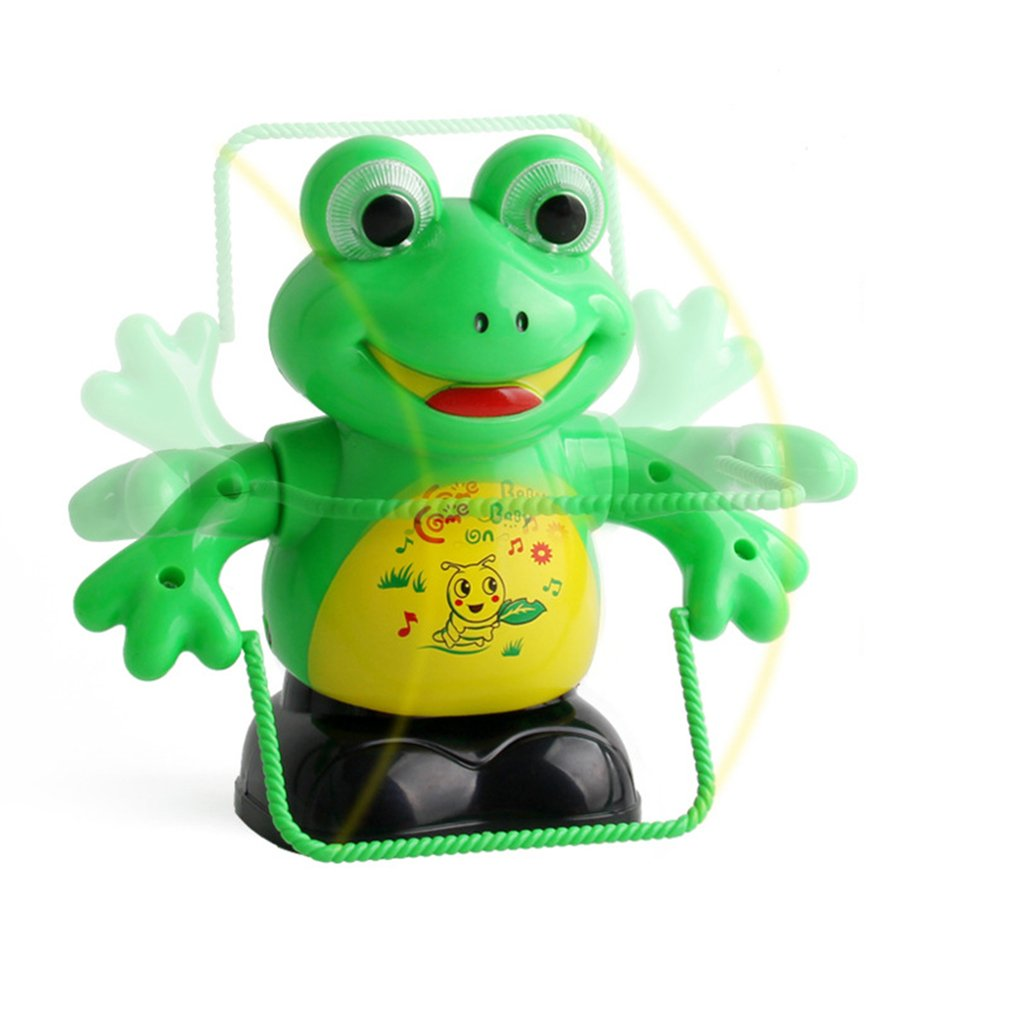 Electric Pet LED Flashing Lights Music Rope Skipping Frog Toy Parent Child Interaction Toy Intellectual Development Kids Gifts