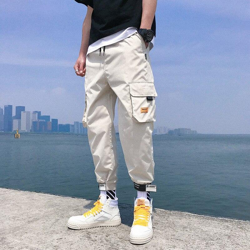 2019 Casual Pants Capri Pants Loose-Fit Beam Leg Velcro Harem Pants Thin Bib Overall Men's Handsome Students Trousers