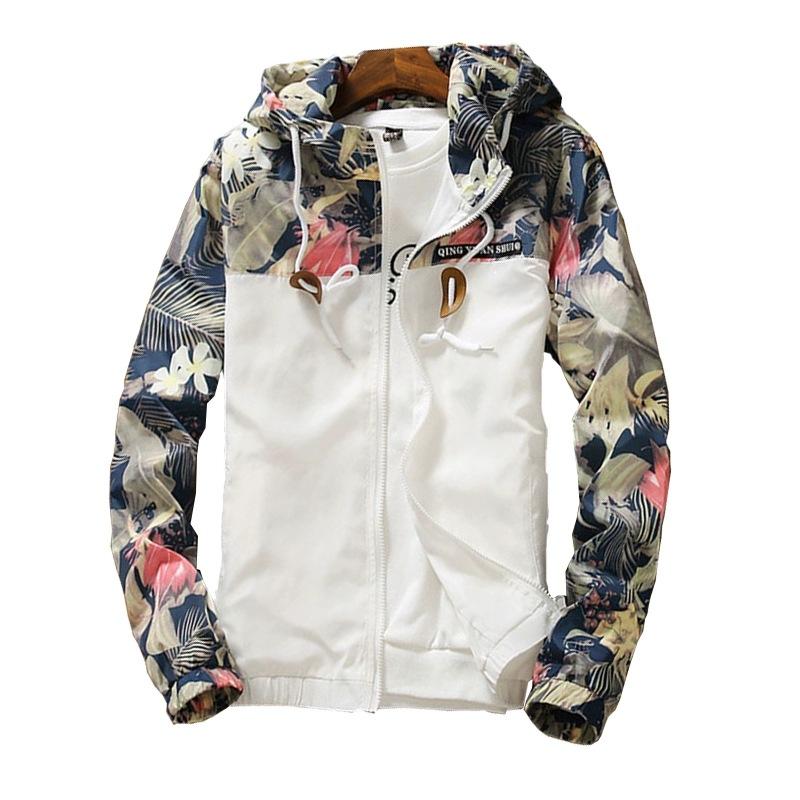 Mens Flower Bomber Jackets Flower Print Coat Teens Hip Hop Slim Fit Pilot Male Hooded Coats Autumn Spring