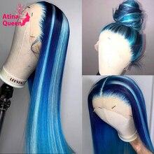 13x6 باروكة من شعر طبيعي ملون شفاف أومبير الضوء الأزرق 613 شقراء الدانتيل الكامل شعر مستعار أمامي المرأة غلويليس HD أمامي