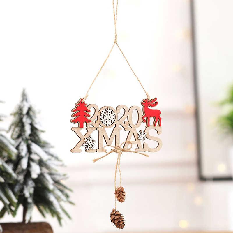 SILIKOLOVE Новый 2020 номер рождественские украшения деревянное домашнее украшение дерево вечерние подвесные Рождественские Подвески