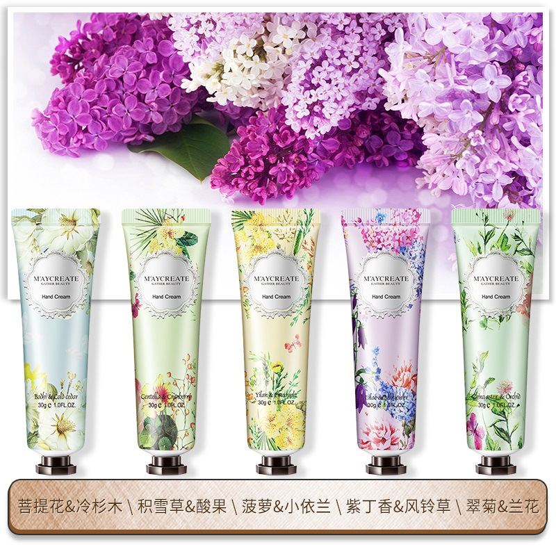 30g Moisture Hand Cream Natural Plant Fragrance Extract Flower Smell Nourishing Hand Care Hydrating Smooth Hand Cream HF180