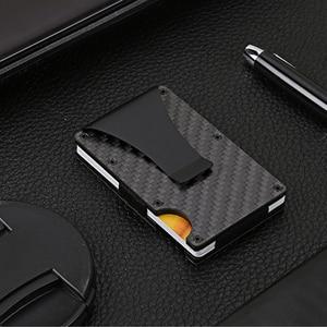 Slim Carbon Fiber Money Clip Stainless Steel ID Credit Card Holder Metal Wallet Money Clip Purse For Men(China)
