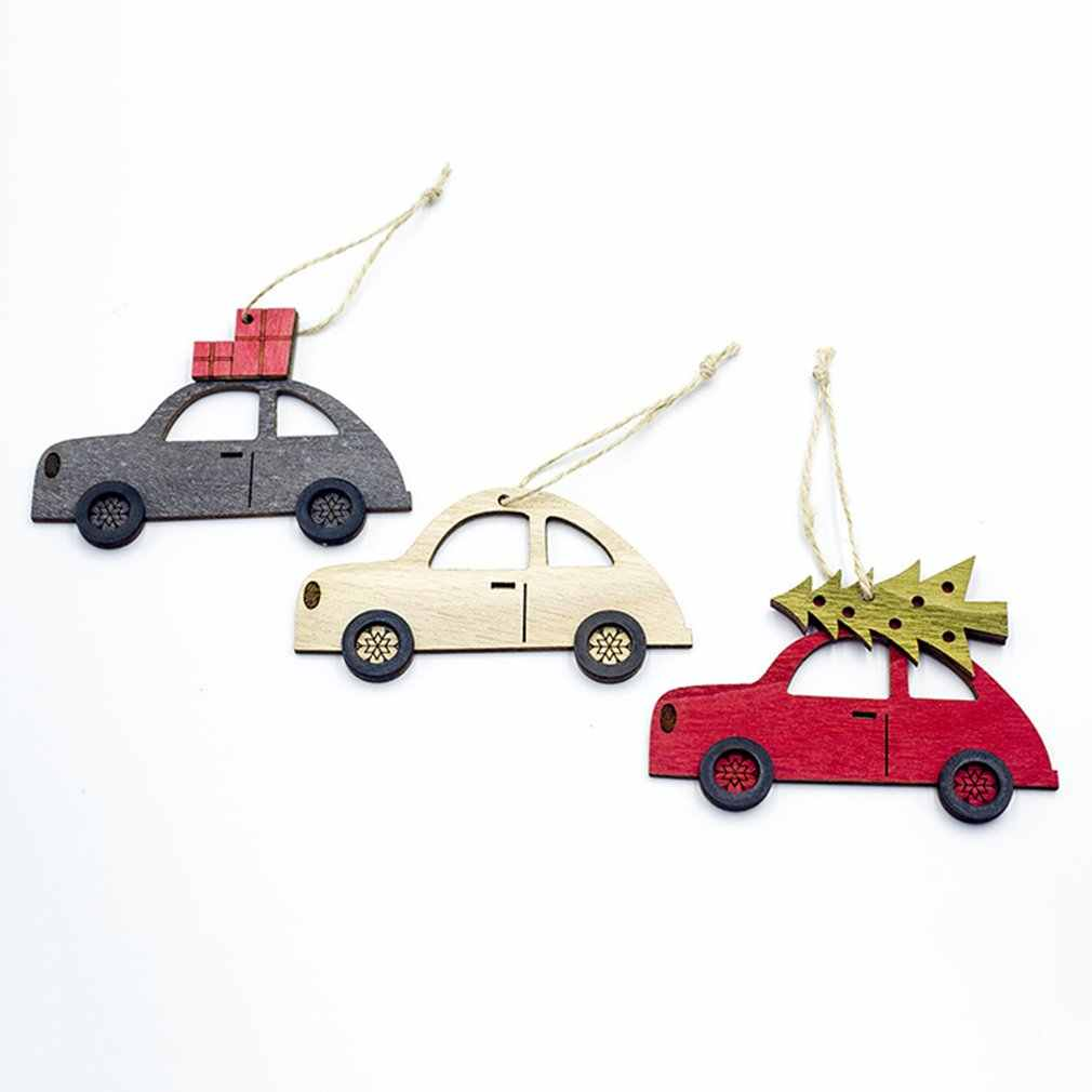 Christmas Wooden painted car Pendant Creative Xmas Tree Ornaments Cute Household Decoration Supplies