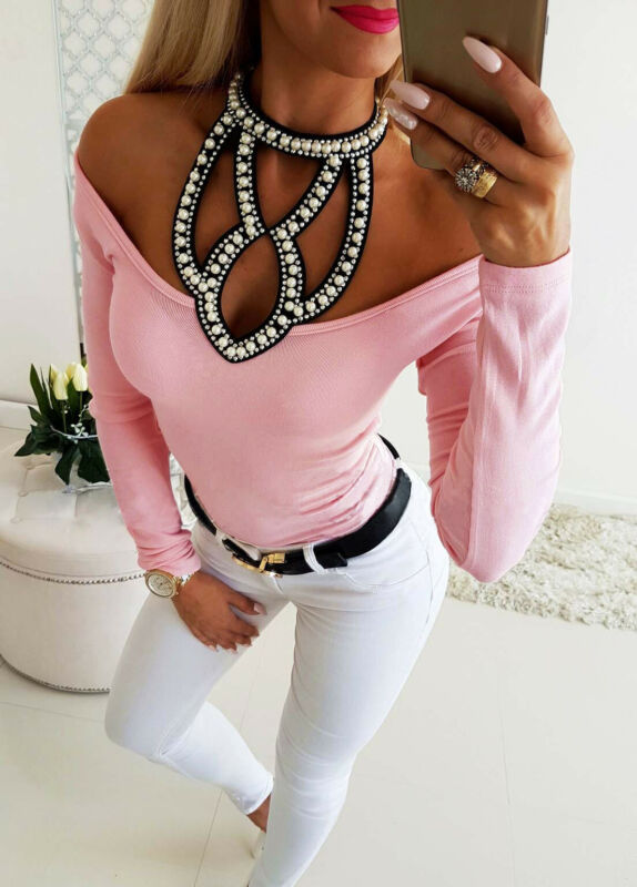 Women T Shirt 2019 Autumn Sexy Hollow Diomonds Neck Solid Off Shoulder Long Sleeve Slim Top Autumn Clothes For Femme image