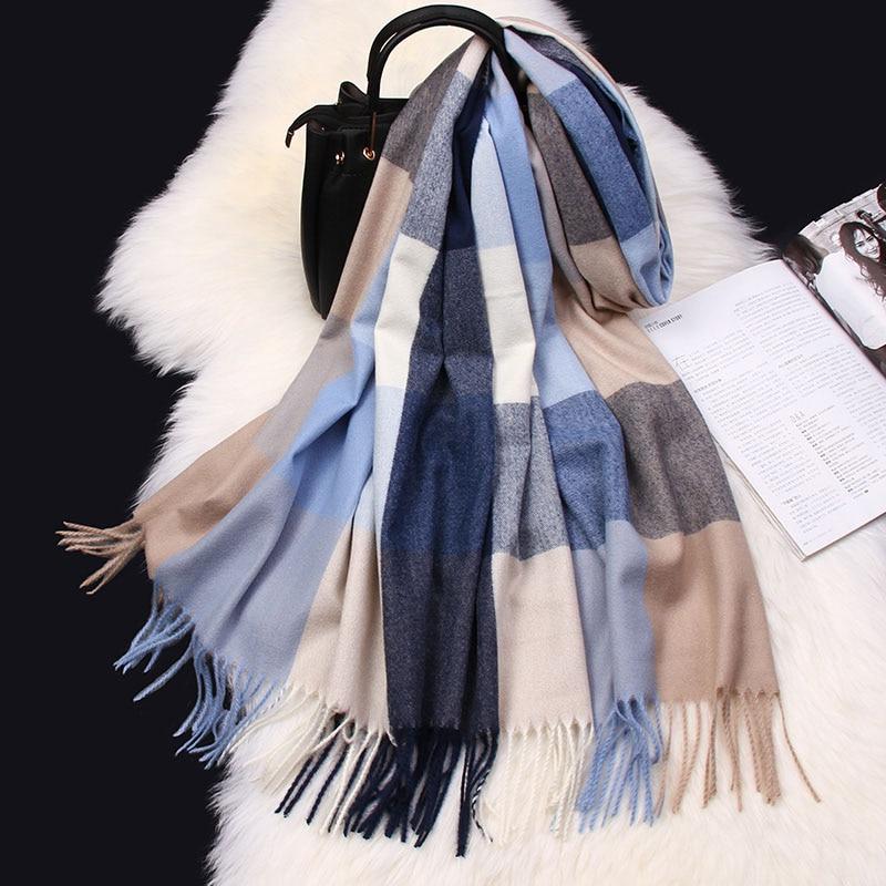 Warm Winter Cashmere Tassels Plaid Scarf Scarves Wool Shawl Pashmina for Women