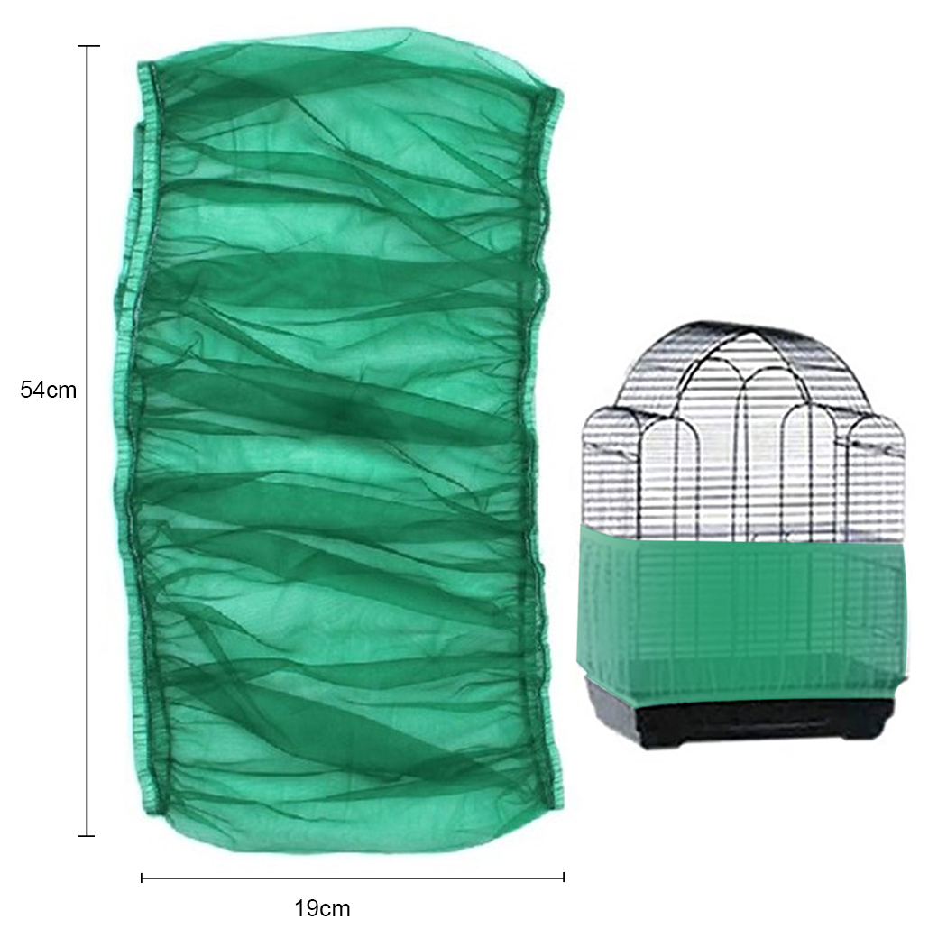 Green Bird Cage Skirt Universal Stretchy Airy Bird Cage Cover Sand Catcher Premium Mesh Cage Skirt For Parrot Pet Supplies-4