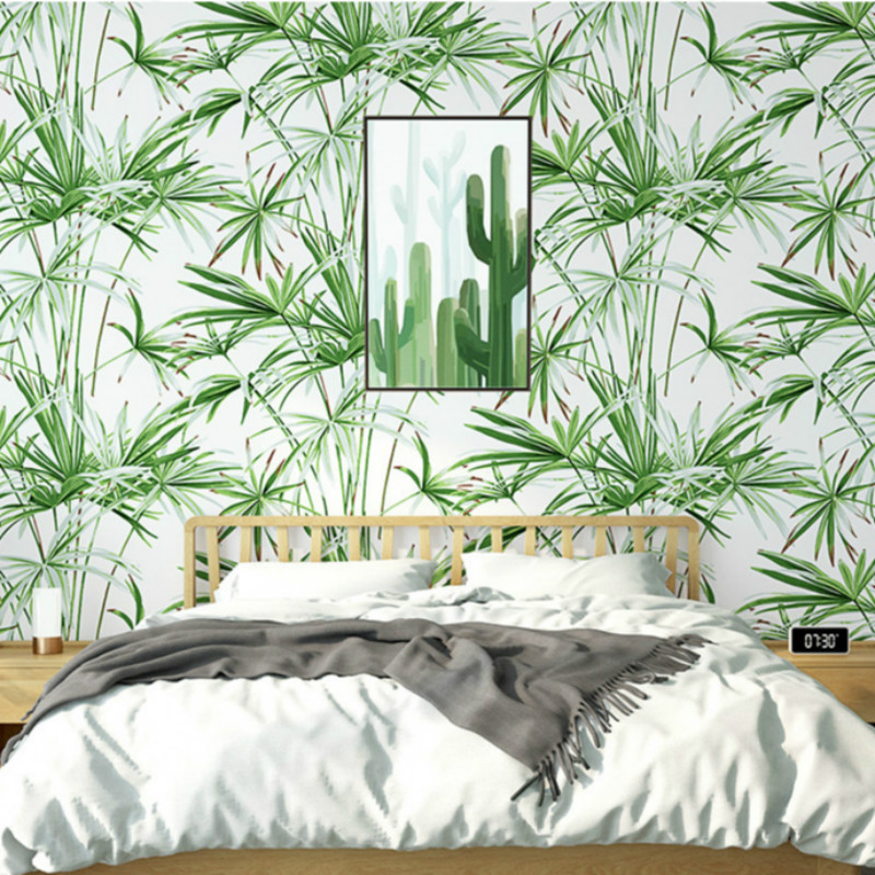Green Leaves Tropical Wall Paper Natural Bamboo Pattern Wallpaper
