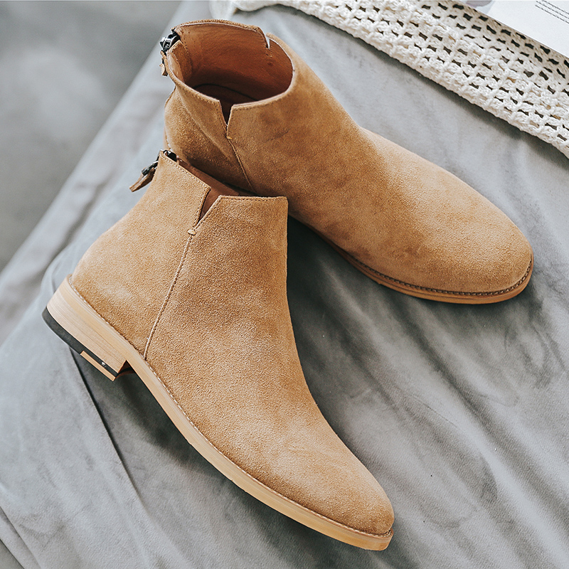 Yomior Men Shoes England Trend Casual Ankle Boots Zip Genuine Leather Male Wedding Dress Chelsea Boots Flats Zapatillas Hombre