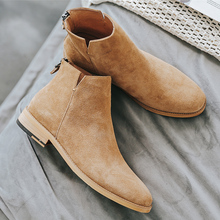 Yomior Men Shoes England Trend Casual Ankle Boots Zip Genuin