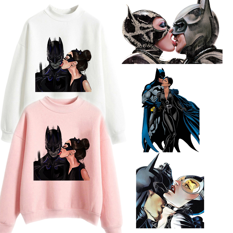 Batman And Catwoman Kiss Oversized Hoodie Harajuku Outerwear Womens Casual Pink Clothes Funny Print Sweatshirt Winter Hoodies