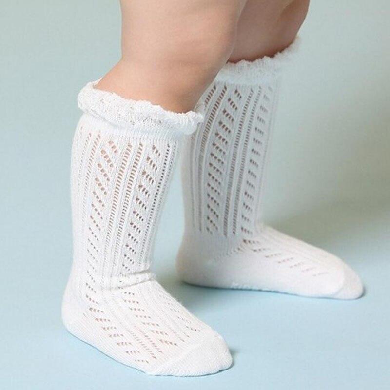 Милые носки для новорожденных девочек, летние хлопковые носки до колена для новорожденных девочек 4 лет, белые/розовые, 1 пара