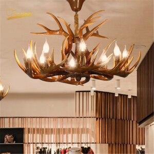 Image 3 - נורדי LED נברשת E14 תליון מנורת תאורה Hanglamp תעשייתי באק קרן צבי קרן צבי שינה סלון מטבח גופי
