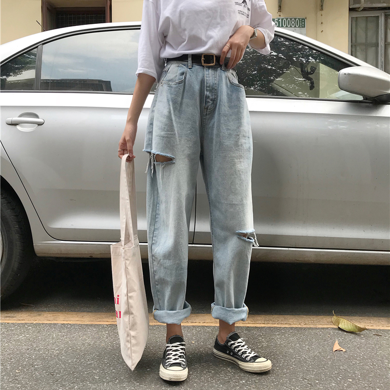Loose Vintage Woman Jeans 2019 Autumn Bleached Casual Boyfriend Hole Denim Wide Leg Pants Oversize High Waist Woman Jean