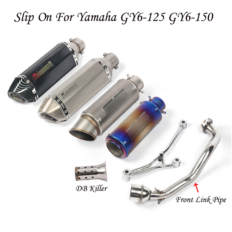 GY6-125 150 Slip on Motorcycle <font><b>Exhaust</b></font> <font><b>System</b></font> <font><b>Exhaust</b></font> Muffler Pipe Tail Pipe Connect Link Tube Whole Set for Yamaha GY6 125 150 image