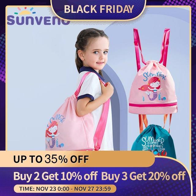 Sunveno水泳バッグウェット/ドライバッグ子供水泳pe袋巾着バックパック