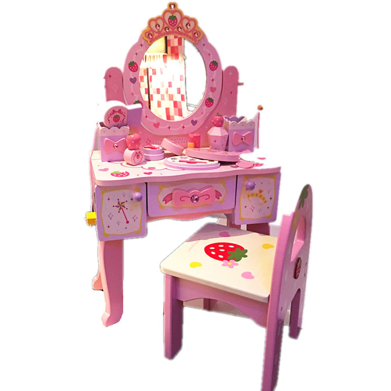 Girl Six One Gift Small Princess Simulation Dresser Makeup Table Children House Non-toxic Wooden Toys