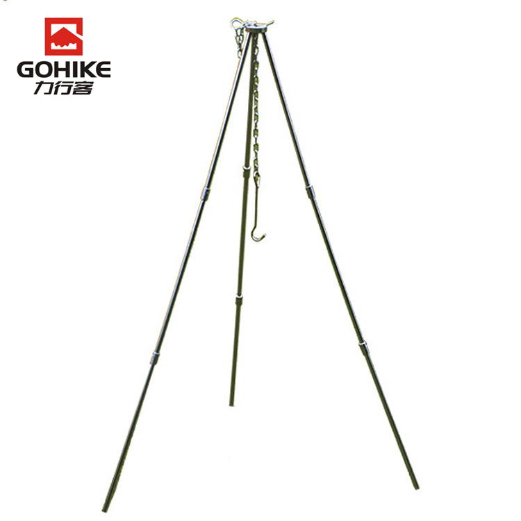 Outdoor Hanging Pot Holder Hanging Stew Pot Three Foot Stool Tripod Picnic 3-Foot Stool 3 Section Three-section Three Foot Stool