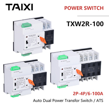 цена на Dual Power Switch Autumatic Transfer 63A 80A 100A 2P 3P 4P Generator Solar photovoltaic Switch AC DC Power MCB Isolation Type