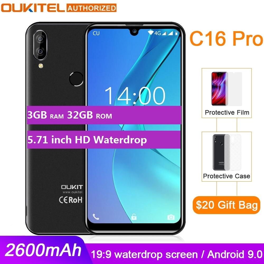 OUKITEL C16 PRO 5.71 ''HD + Waterdrop Écran Smartphone 4G MT6761P Quad Core 3GB 32GB Android 9.0 Tarte Face ID Téléphone Portable