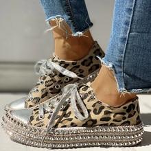 Женские леопардовые парусиновые туфли с принтом; повседневная обувь на шнуровке с низким берцем; женские кроссовки; обувь на толстой подошве из пеньковой веревки; прогулочная обувь