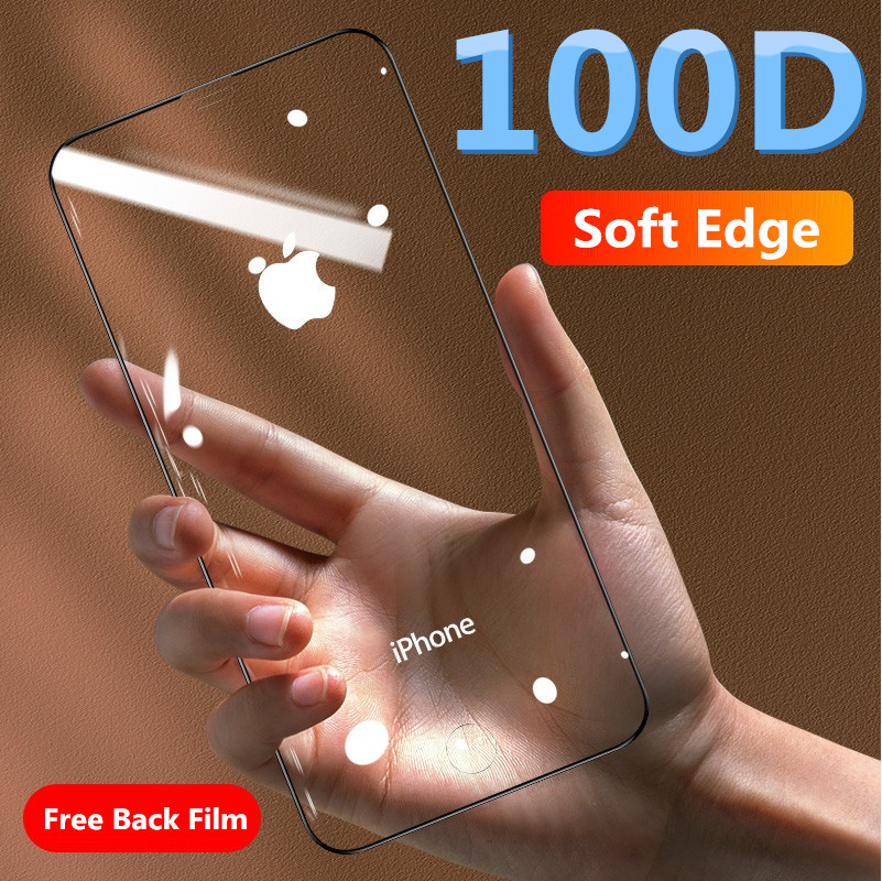 Tempered-Glass Screen-Protector Curved-On IPhone Xr 100D 8-Plus Xs-Max Soft-Edge