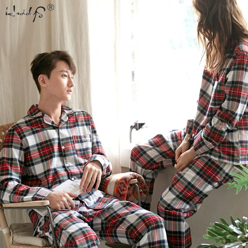 Plaid Print Couple Pajamas Set Autumn And Winte Warm Cotton Women And Men Pyjamas Long Sleeve Sleepwear Men Lounge Pijama